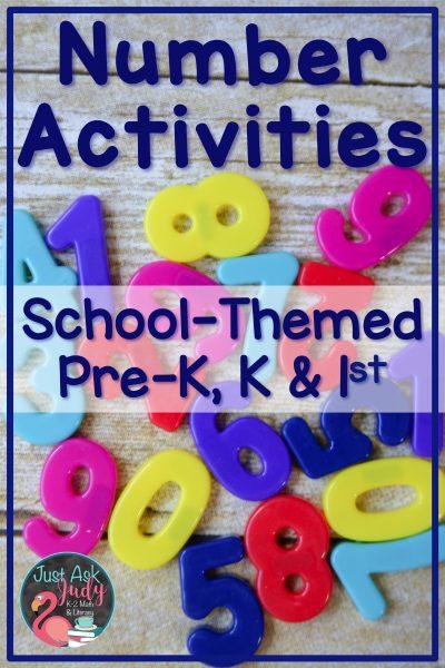 Check out these school-themed number activities, suitable for pre-school, kindergarten, and early first-grade math. #BTS #BackToSchool #MathActivities #PreK # kindergarten