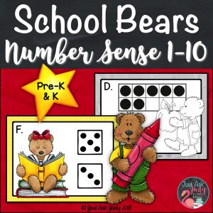 Give your preschool and kindergarten kiddos the opportunity to move around the room with this school bear themed roam the room small group number sense resource which incorporates dice patterns and ten frames with counting, writing numerals, writing number words, one less, one more, and representing a given quantity by drawing, with tally marks, and on ten frames. #BackToSchool #subitizing #PreschoolMath #KindergartenMath