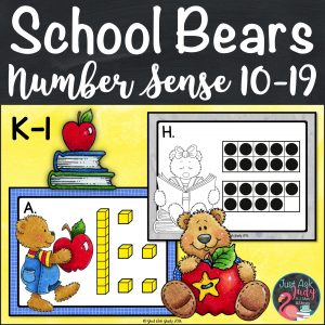 Engage your students with this school bear themed roam the room small group number sense activity which incorporates base ten blocks or ten frames with writing numerals, writing number words, and representing a given quantity with tally marks, on ten frames, and by drawing base ten blocks. The concept of teen numbers being composed of ten and a number and one less and one more than a number are also addressed. #NumberSense #KindergartenMath #1stGradeMath #TeenNumbers #MathCenters