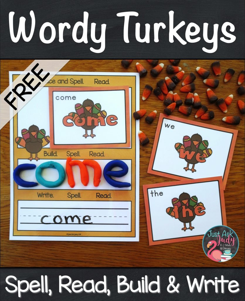 Use this set of 16 pre-primer wordy turkey cards and mat with your kindergarten and first-grade students to practice spelling and reading these important beginning reader high-frequency words. #turkeys #SightWords #KindergartenReading