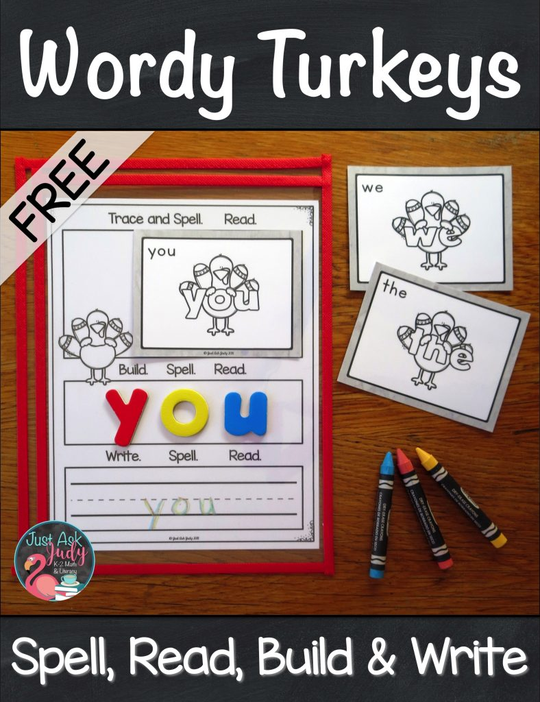 Engage your kindergarten and first-grade students with this set of 16 pre-primer wordy turkey cards and mat. Have them practice spelling and reading these important beginning reader high-frequency words. #turkeys #SightWords #EmergentReaders