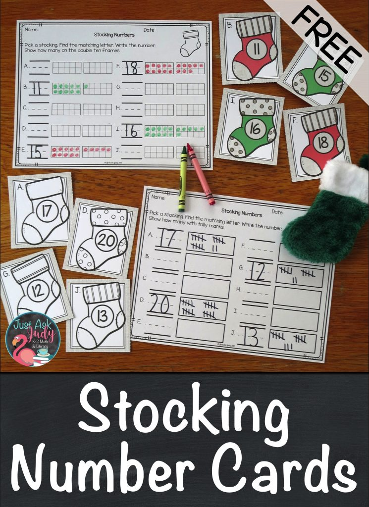 Find a perfect holiday math activity for your preschoolers or kindergarteners. Use these free Christmas stocking numeral cards with one of the recording sheets; fill in the ten frames 1-10 or 11-20, draw tally marks, or trace the numerals 1-10. #ChristmasMathActivity #KindergartenMath #TenFrames