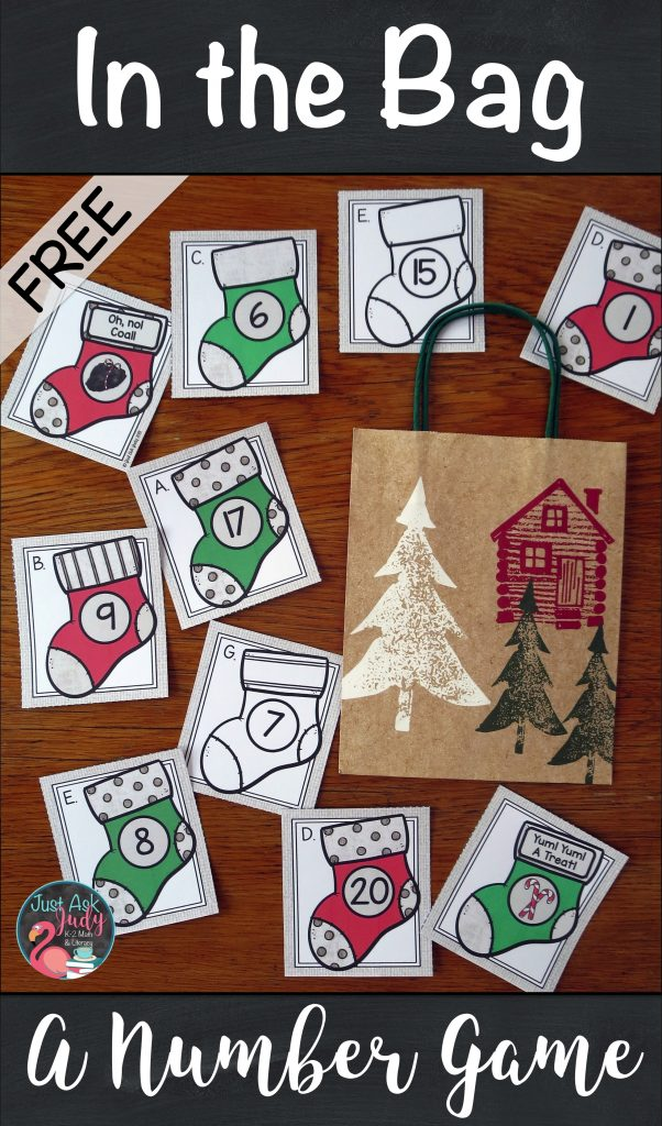 Play an In the Bag or In the Stocking game with these free Christmas stocking numeral cards, 1-10 and 11-20. Engage your preschool and kindergarten students during this oh, so hectic time of year! #MathGame #ChristmasMath #Numeral Recognition