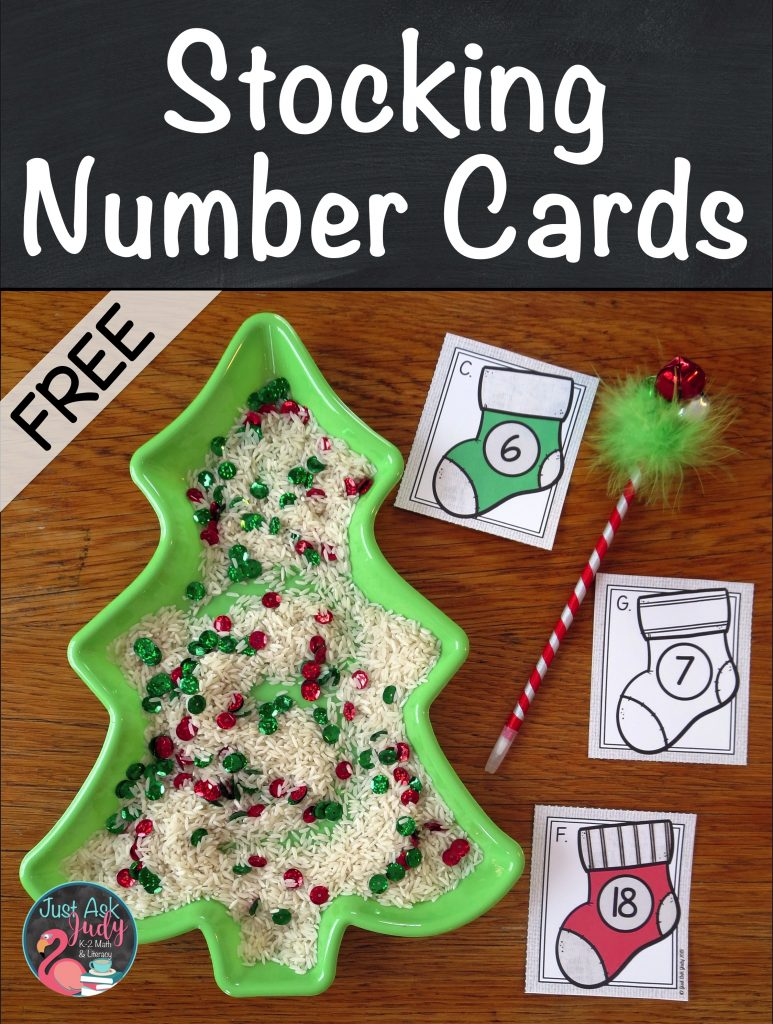 Pair these free Christmas stocking numeral cards, 1-10 and 11-20 with a seasonal writing tray to reinforce numeral recognition and formation with your preschoolers and kindergartners. #WritingTray #NumberFormation #KindergartenChristmas