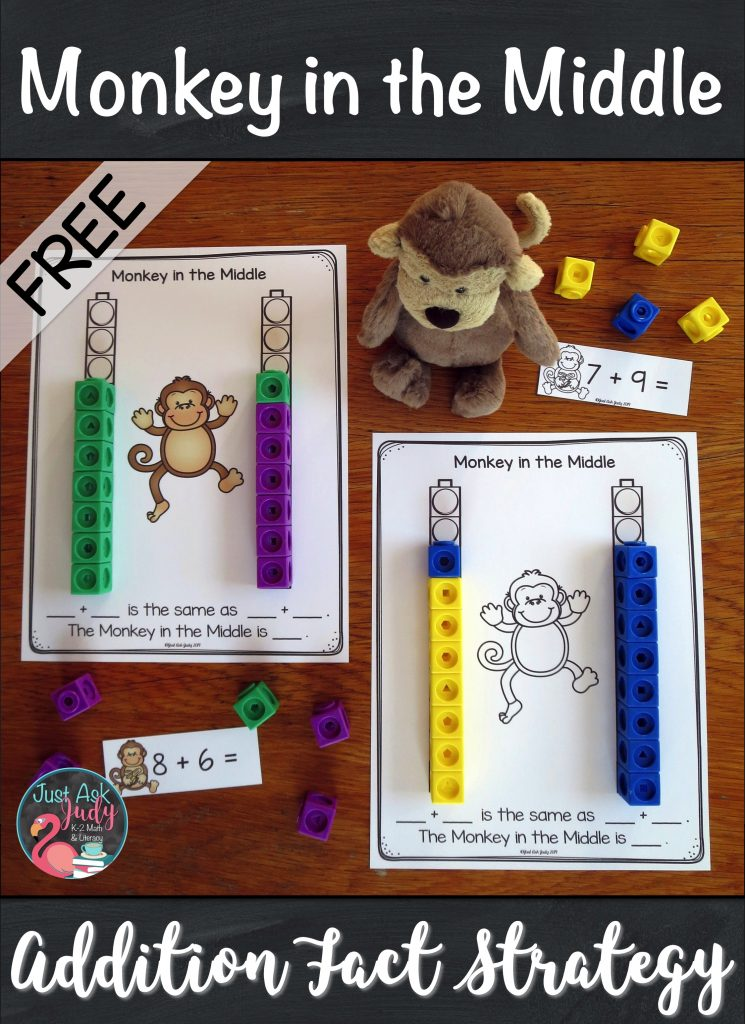 Check out this free sample from my Monkey in the Middle Addition Fact Strategy resource. It is designed to help you introduce this strategy in first and second grade. #AdditionFacts #1stGradeMath