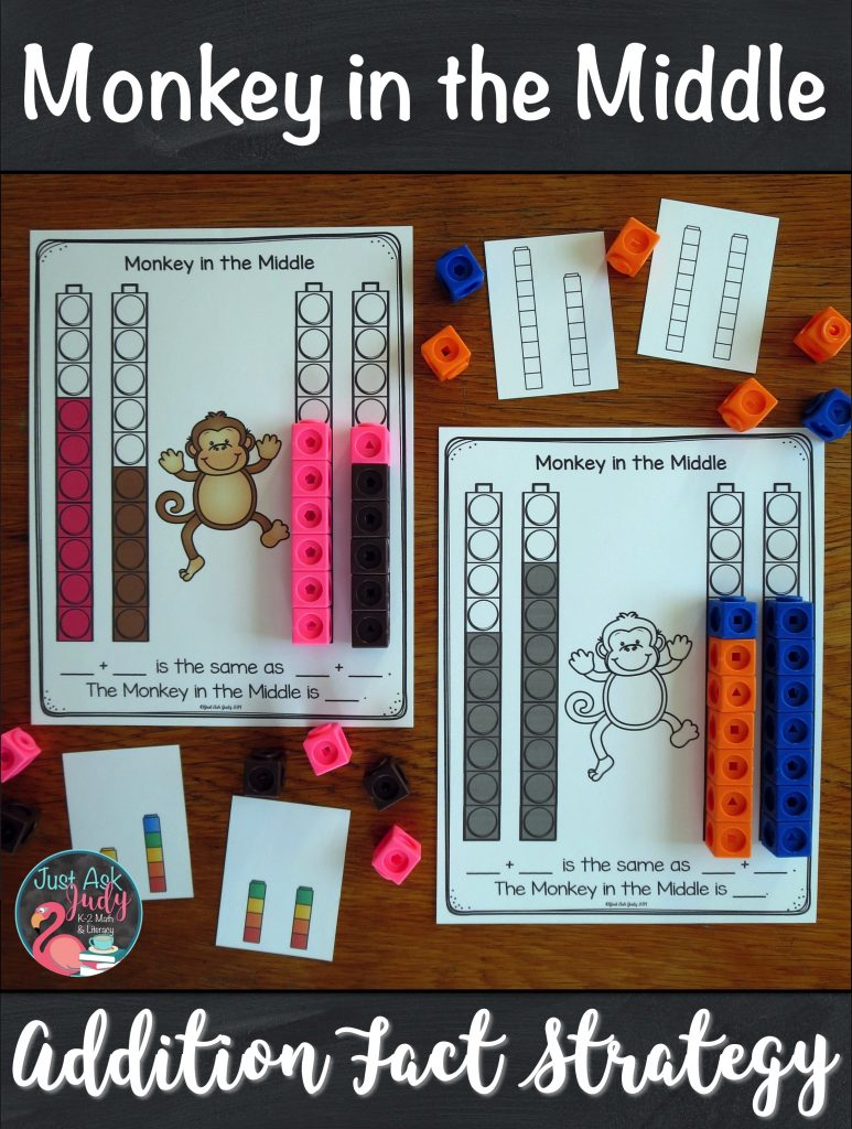 Click to discover a set of resources to help you introduce and teach the monkey in the middle addition fact strategy. It is the perfect pack of materials to help your first and second grade math students understand this strategy. #1stGradeMath #AdditionFacts