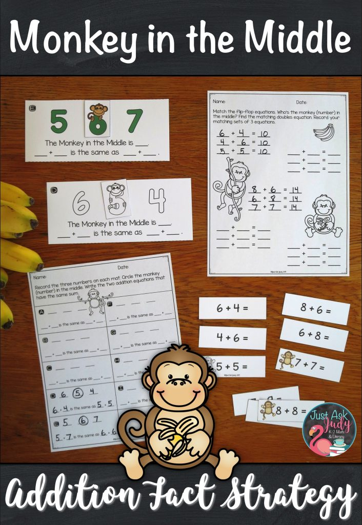 Check out this pack of materials designed to help you introduce and teach the monkey in the middle addition fact strategy. It is the perfect way to help your first and second grade math students understand this strategy. #SecondGradeMath #AdditionFacts