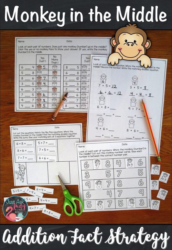 Try this set of resources designed to help you introduce and teach the monkey in the middle addition fact strategy. It is the perfect pack of materials to help your first and second grade math students understand this strategy. #2ndGradeMath #AdditionFacts