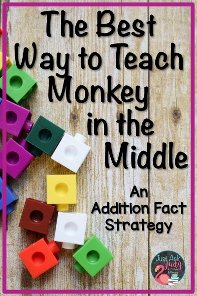 Read all about introducing and teaching the monkey in the middle addition fact strategy in first and second grade. Find a freebie to help you get started! #MathFreebie #AdditionFacts