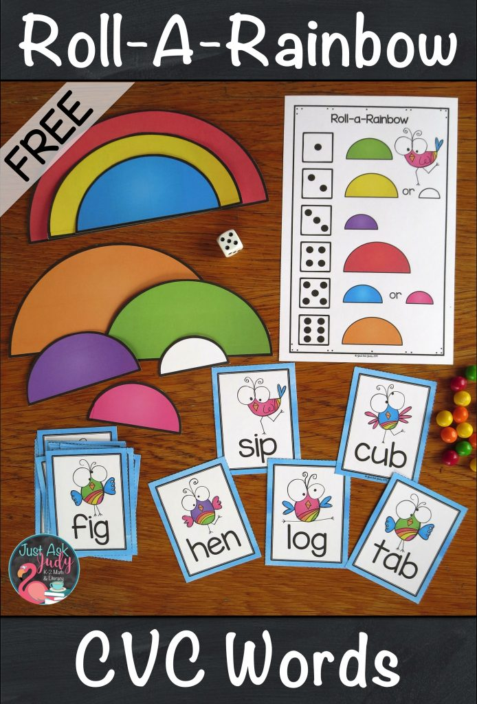 Use this free rainbow themed activity to give your kindergarten and first-grade students practice reading CVC (3 letter short vowel closed syllable) words. There are a total of 45 word cards, 9 for each vowel, in both color and black/ gray/ white. Read a word, roll a die, and build or color part of a rainbow. #ShortVowels #Rainbows