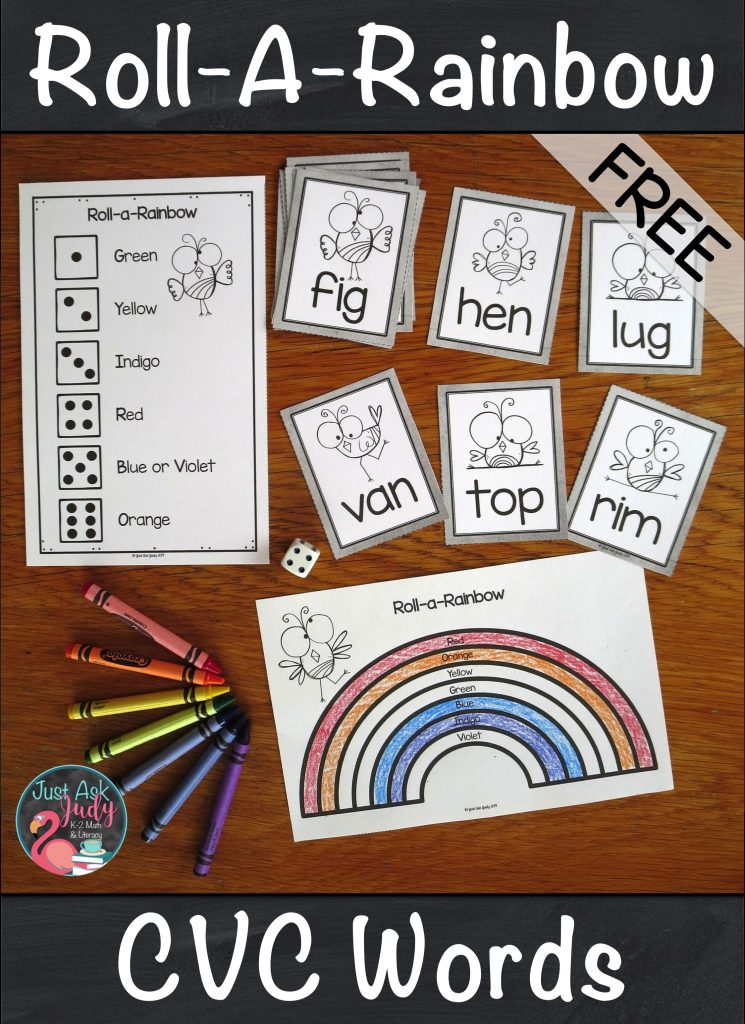 Check out this free rainbow themed activity that gives your kindergarten and first-grade students practice reading CVC (3 letter short vowel closed syllable) words. There are 45 word cards, 9 for each vowel, in both color and black/ gray/ white. Read a word, roll a die, and build or color part of a rainbow. #CVCWords #KindergartenLiteracy