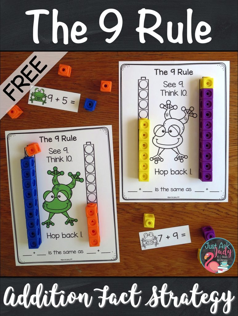 Try this free sample from my 9 Rule Addition Fact Strategy resource. It is a concrete introductory activity to help your 1st and 2nd grade math students understand the concept underlying this strategy. #AdditionFacts #FirstGradeMath #SecondGradeMath