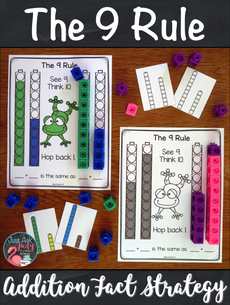 Check out this set of resources to help you introduce and teach The 9 Rule (adding 9) addition fact strategy. It is the perfect way for your 1st and 2nd grade math students to develop understanding of the concept underlying this strategy. #AdditionFacts #FirstGradeMath #SecondGradeMath