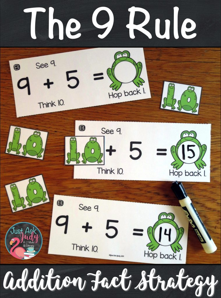 Try this set of resources to help your first and second-grade students apply The 9 Rule (adding 9) addition fact strategy. The activities are based on changing the addend 9 to 10, adding with 10, and then subtracting (or hopping back) 1 from the sum. #Add9 #FirstGradeMath #SecondGradeMath