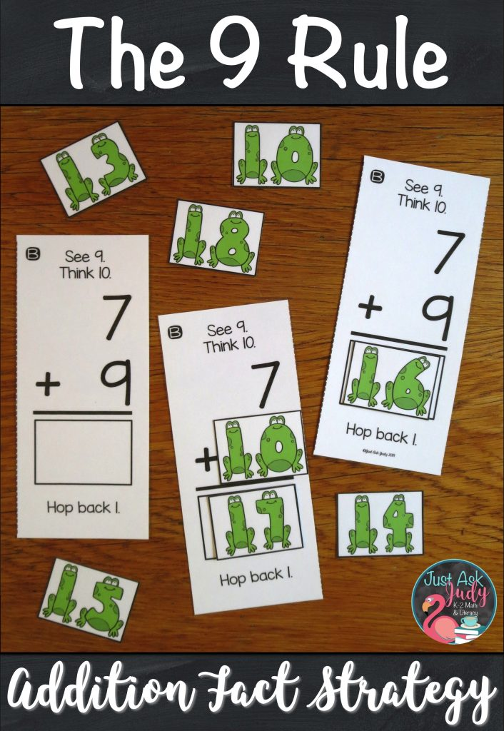 Check out this hands-on activity to help your first and second-grade students apply The 9 Rule (adding 9) addition fact strategy. The activities are based on changing the addend 9 to 10, adding with 10, and then subtracting (or hopping back) 1 from the sum. #AdditionFacts #1stGradeMath #2ndGradeMath