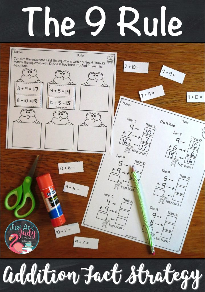 Use these worksheets with your 1st and 2nd grade students to provide step-by-step practice applying the Add 9 addition fact strategy. #AdditionFacts #FirstGrade #SecondGrade