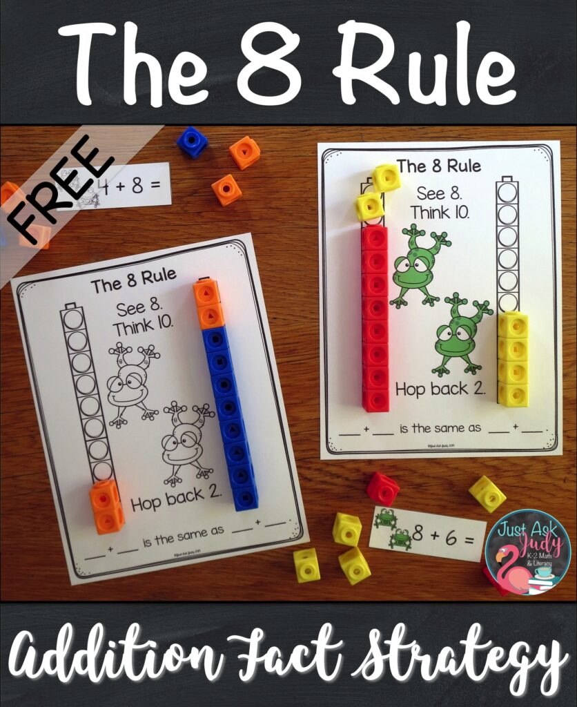 Looking for ideas on how to teach your students to add 8 to a single digit number? Check out this free sample from my 8 Rule Addition Fact Strategy resource. It's an introductory activity to help your 1st and 2nd grade math students understand the concept underlying this strategy. #AdditionFacts #FirstGradeMath #SecondGradeMath