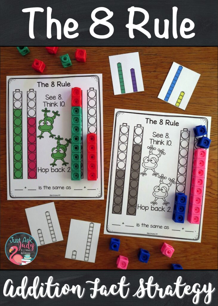 Need some help with teaching your students how to add 8 to a single-digit number? Try this set of resources to introduce and teach The 8 Rule (adding 8) addition fact strategy. It is a perfect pack of materials to help your first and second grade math students understand the concept underlying this strategy. #FactFluency #1stGradeMath #2ndGradeMath