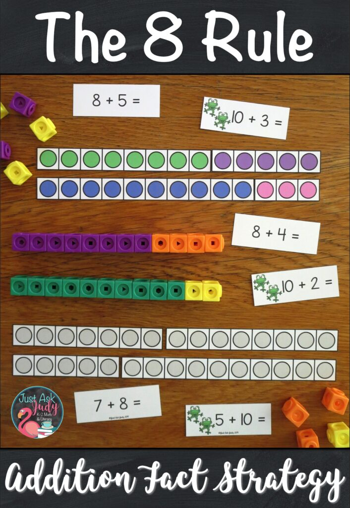 Need some help with teaching your students how to add 8 to a single-digit number? Click to see this set of resources to introduce and teach The 8 Rule (adding 8) addition fact strategy. It is a perfect pack of materials to help your 1st and 2nd grade math students understand the concept underlying this strategy. #AdditionFacts #FirstGradeMath #SecondGradeMath