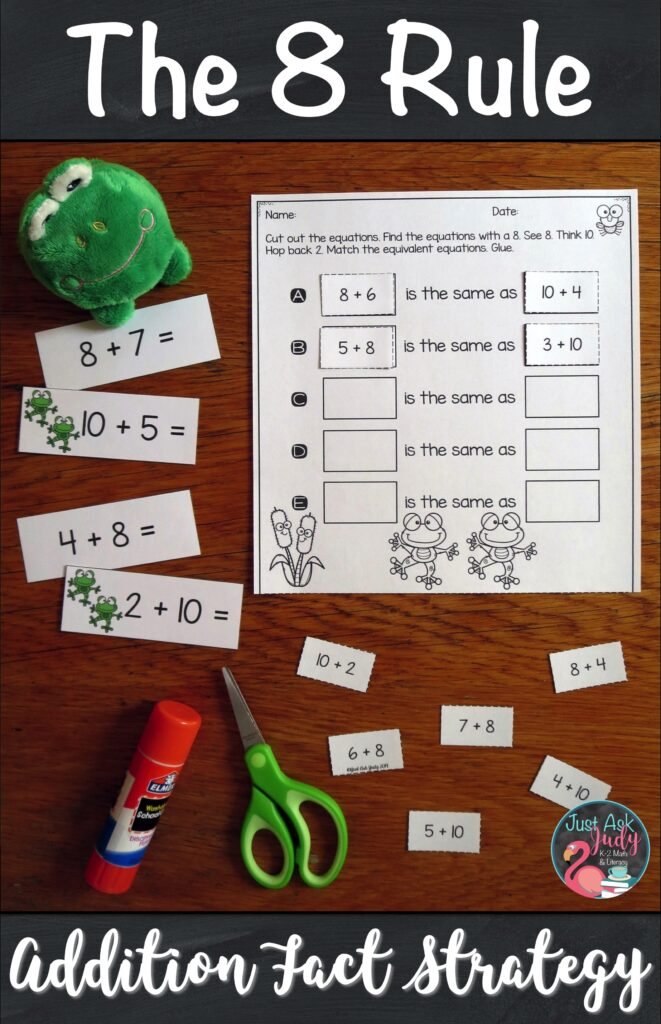 Would you like some help with teaching your students how to add 8 to a single-digit number? Here's a set of resources to introduce and teach The 8 Rule (adding 8) addition fact strategy. It is a perfect pack of materials to help your first and second grade math students understand the concept underlying this strategy. #AdditionFacts #1stGradeMath #2ndGradeMath