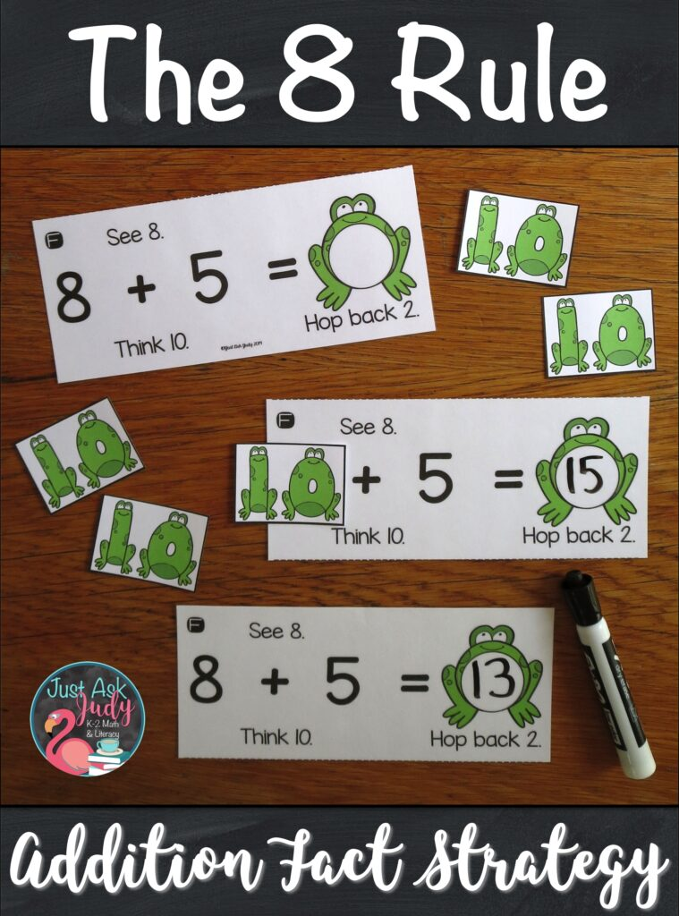 Here's a set of resources to help you teach your first and second-grade math students to apply The 8 Rule (adding 8) addition fact strategy. The activities are based on changing the addend 8 to 10, adding with 10, and then subtracting (or hopping back) 2 from the sum. #AdditionFacts #1stGradeMath #2ndGradeMath