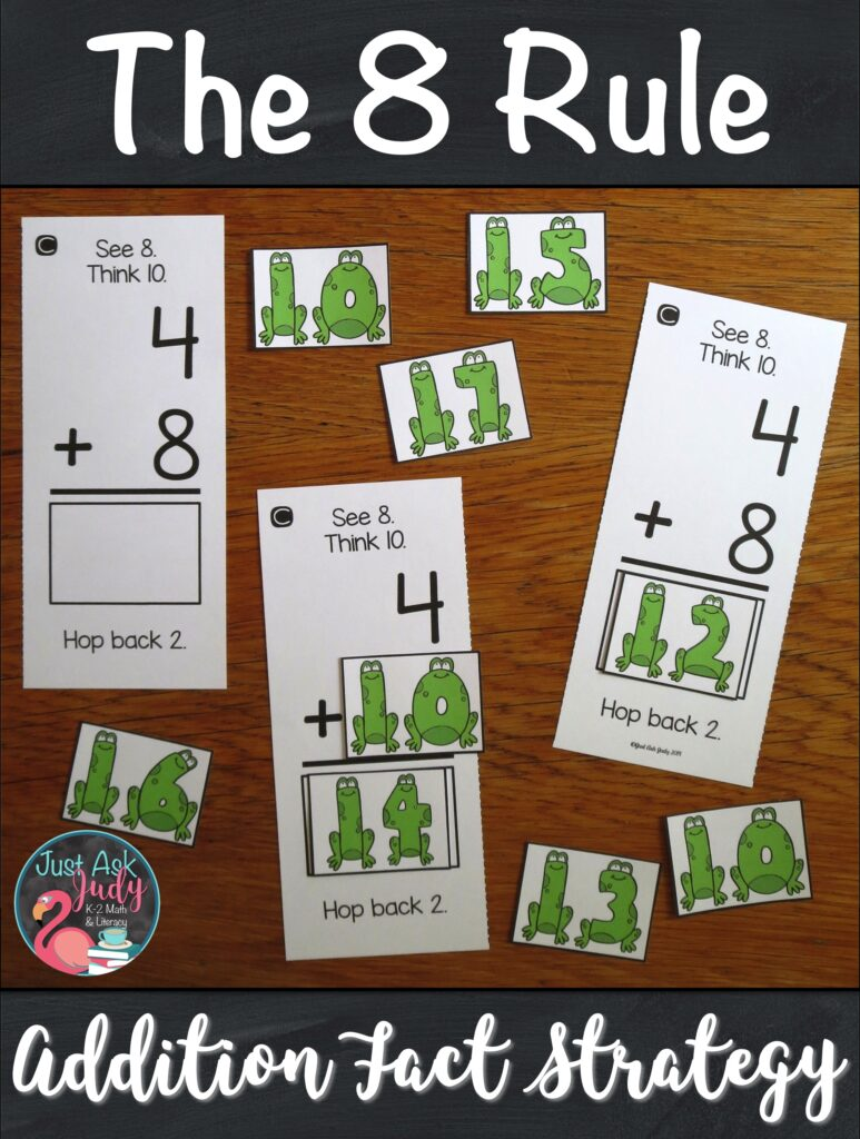 Are you ready to start teaching your students how to add 8 to a single-digit number? Here's a set of resources to help your 1st and 2nd grade math students apply The 8 Rule (adding 8) addition fact strategy. The activities are based on changing the addend 8 to 10, adding with 10, and then subtracting (or hopping back) 2 from the sum. #FactFluency #FirstGradeMath #SecondGradeMath