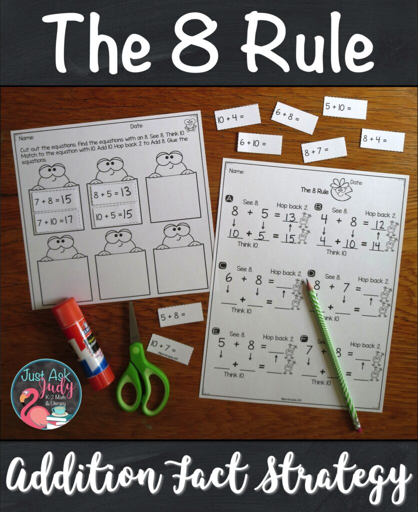 Ready to start teaching your students how to add 8 to a single-digit number? Here's a set of resources to help your first and second-grade math students apply The 8 Rule (adding 8) addition fact strategy. The activities are based on changing the addend 8 to 10, adding with 10, and then subtracting (or hopping back) 2 from the sum. #FactFluency #1stGradeMath #2ndGradeMath