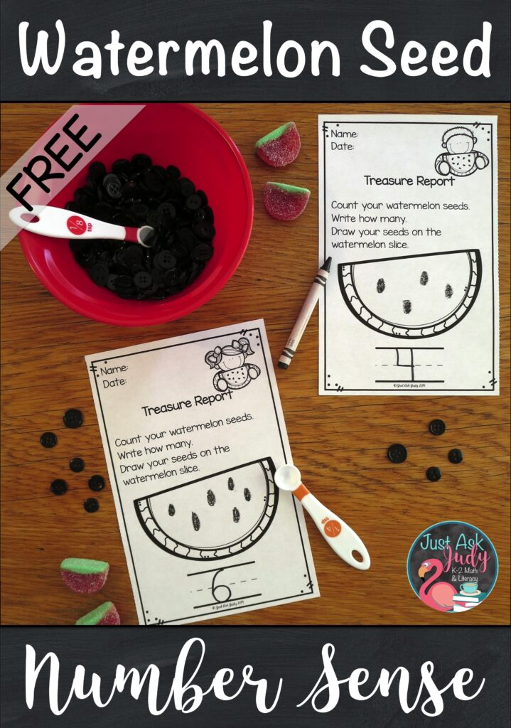 Try this free scoop and count watermelon seed math activity with your preschool and kindergarten students! #WatermelonDay #PreSchoolMath #KindergartenMath