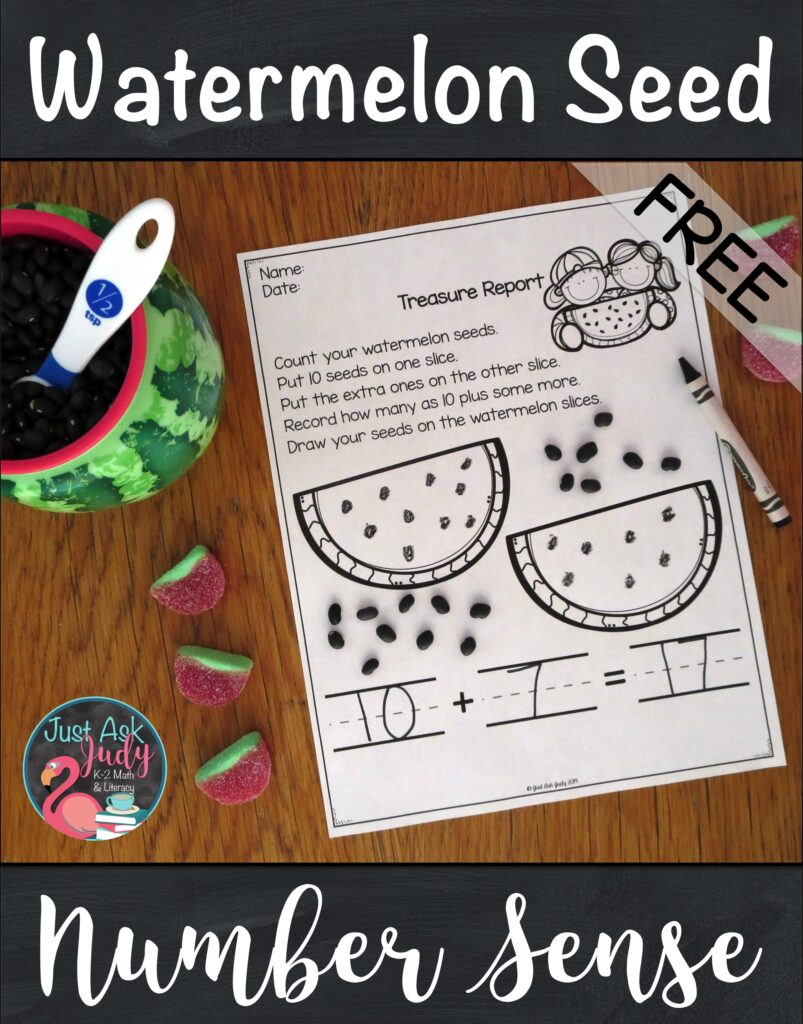 Check out this free watermelon seed math activity for decomposing teen numbers #Watermelons #TeenNumbers #KindergartenMath