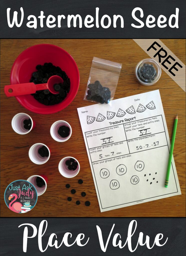 Click to see this engaging hands-on watermelon seed math activity for first and second- graders which helps develop an understanding of two-digit numerals, tens and ones. #PlaceValue #1stGradeMath #Watermelons
