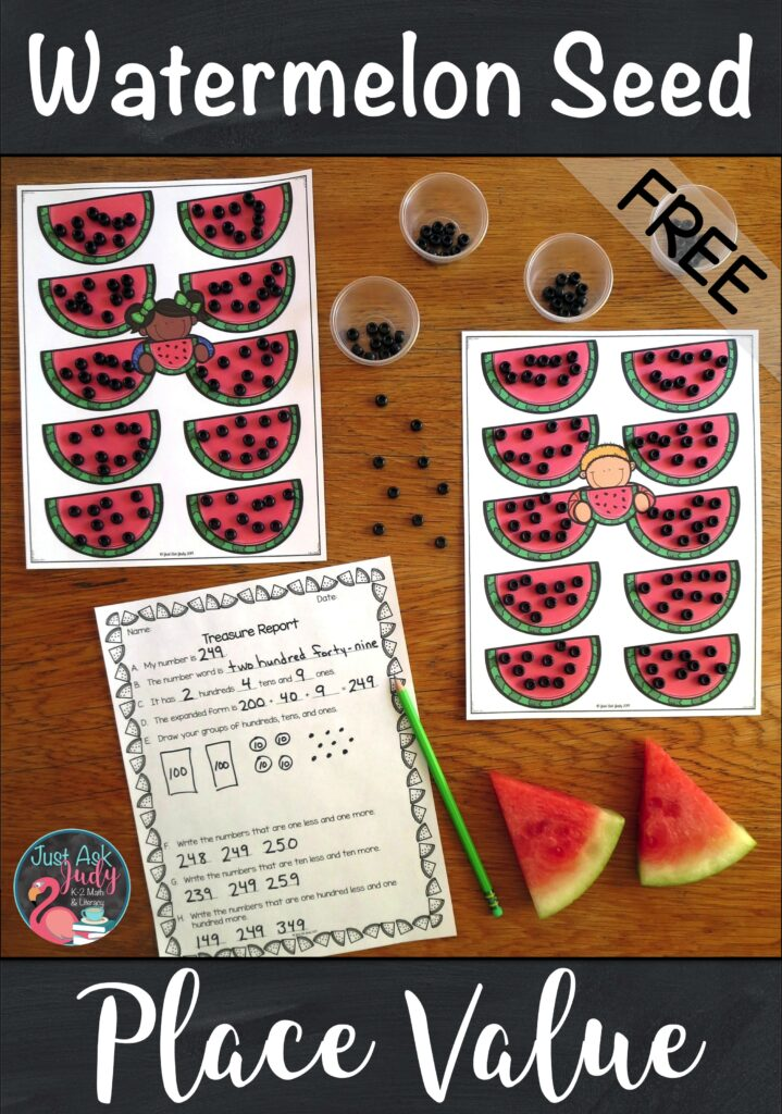 Try this engaging hands-on watermelon seed math activity for second and third-graders which helps develop an understanding of three-digit numerals, hundreds, tens and ones. #PlaceValue #2ndGradeMath #Watermelons