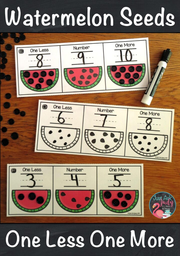 Check out this versatile kindergarten math resource with a watermelon seed theme to teach, practice, or review the concept of one less and one more than a given quantity or number. #WatermelonDay #KindergartenMathCenters #OneMoreOneLess