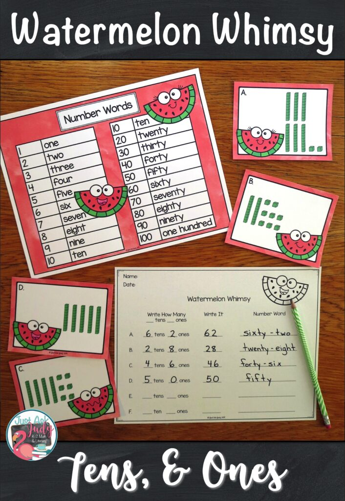 Click to see a watermelon themed roam the room small group place value activity for first and second-grade math that reinforces representing two-digit numbers in different forms; base ten, standard form, expanded form, and number word. It also provides practice with rounding and ten less/ ten more than a number. #WatermelonMath #1stGradeMath #PlaceValue