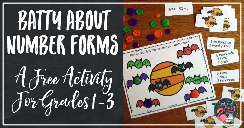 Check out this free bat-themed number forms and place value activity for your first, second, and early third-grade students. #NumberForms #PlaceValue #MathCenter