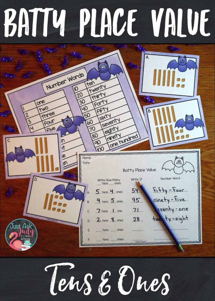 Try this bat-themed roam the room small group place value activity. Give your 1st and 2nd grade math students practice representing two-digit numbers in different forms. #MathCenters #Bats #NumberForms