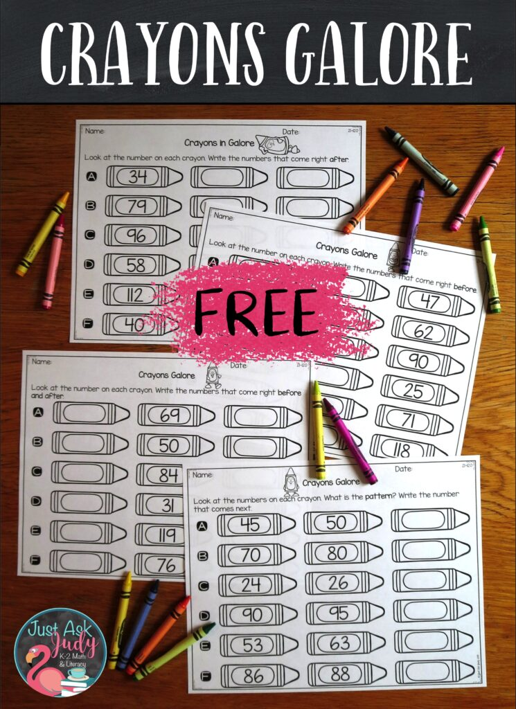 Try these free crayon-themed worksheets to practice and review ordering the numbers 21-120. #NumberPatterns #SequencingNumbers #FirstGradeMath