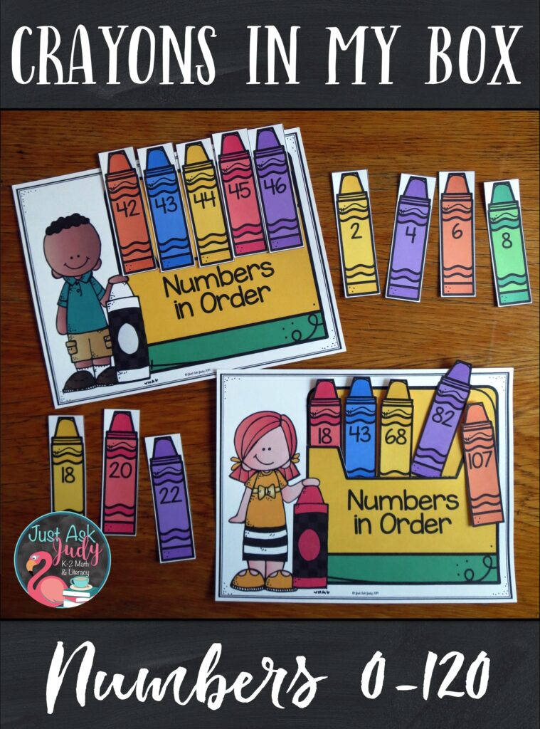 Check out this open-ended flexible crayon themed resource for sequencing numbers 0-120 in a variety of ways. Use it to provide individualized practice or review for your kindergarten, first, and second-grade math students. #Crayons #1stGradeMath #MathCenters