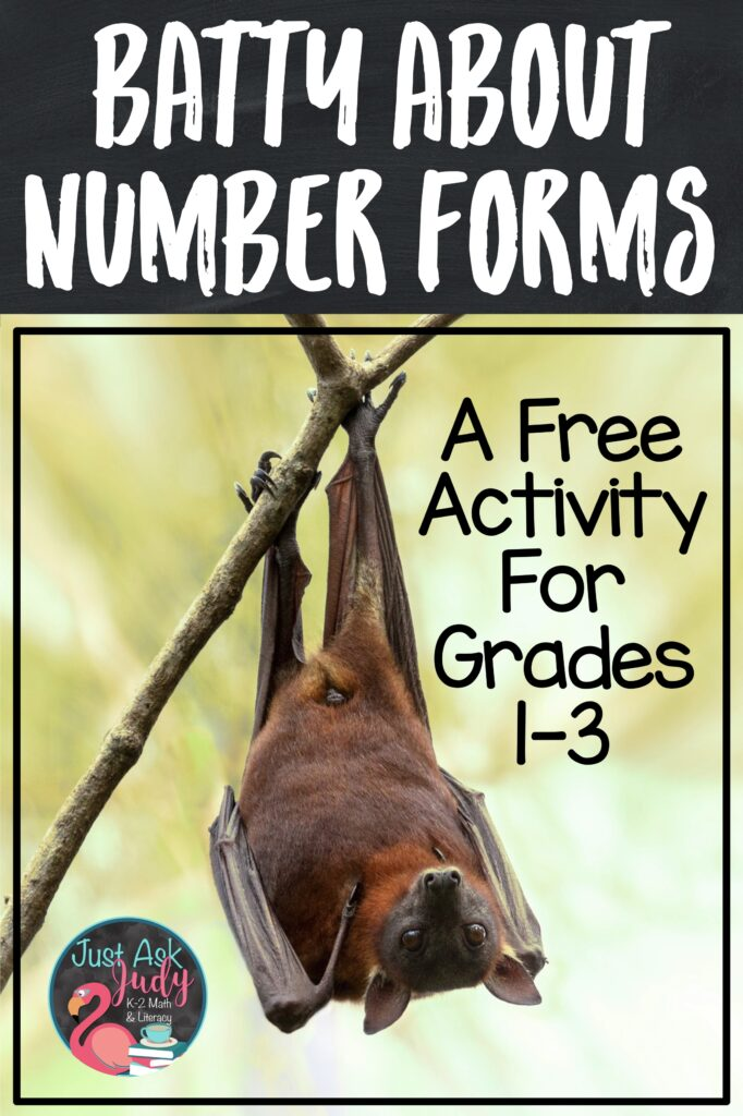 Click to see this free bat-themed number forms and place value activity for your first, second, and early third-grade students. #NumberForms #PlaceValue #Bats
