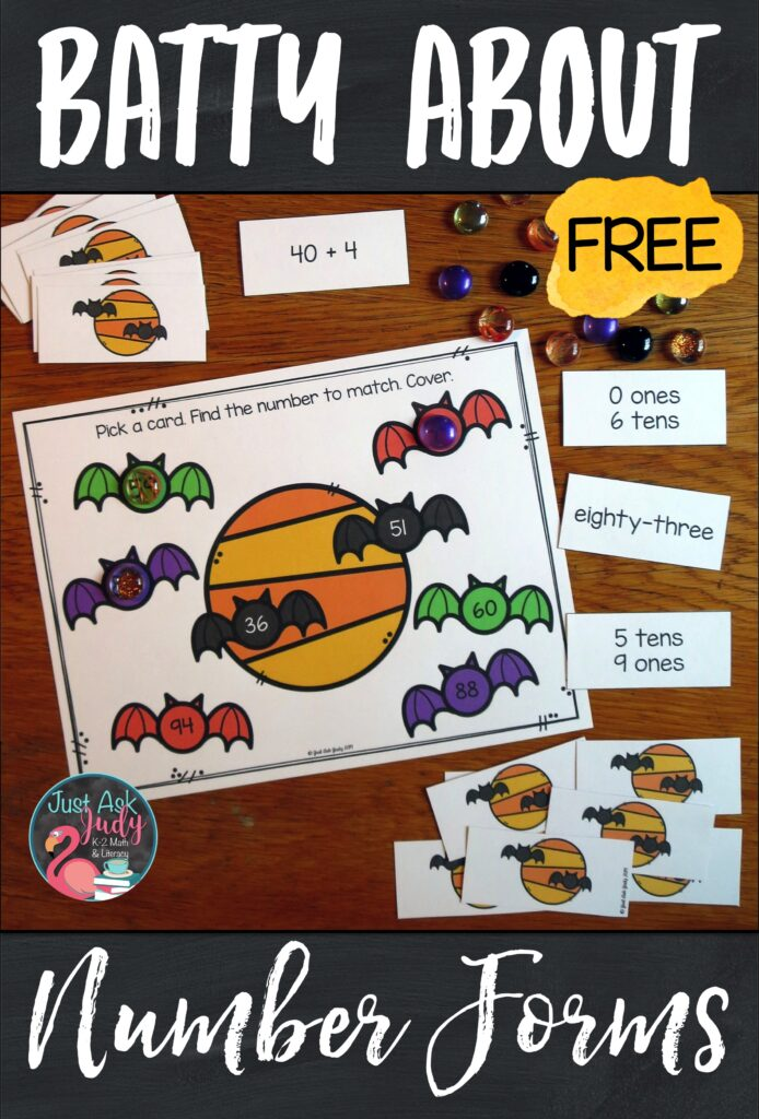 Here's a free bat-themed number forms and place value activity for your first and second-grade students. Use it to provide practice with the standard, word, expanded, and place value forms of two-digit numbers. #1stGradeMath #Bats #NumberForms