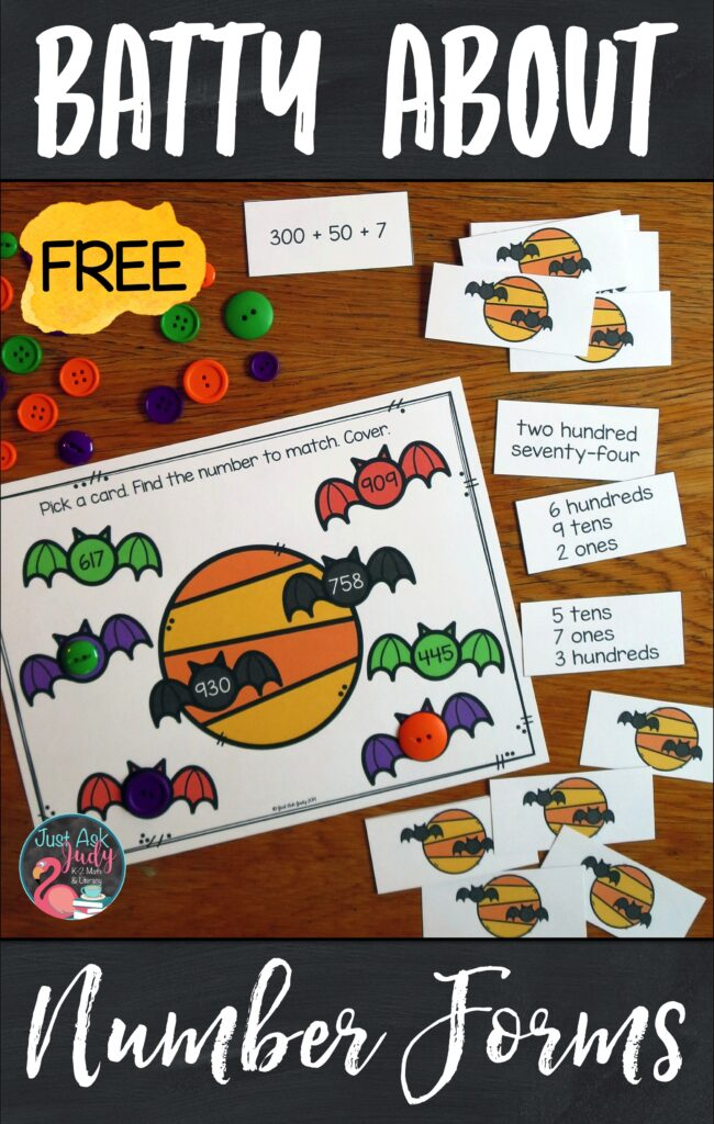 Download this free bat-themed number forms and place value activity for your second and early third-grade students. Use it to provide practice with the standard, word, expanded, and place value forms of three-digit numbers. #2ndGradeMath #Bats #PlaceValue