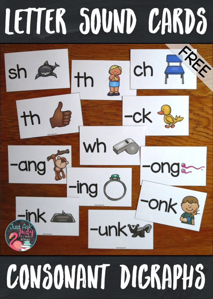 Check out this free set of letter/ sound picture cards, perfect for introductory lessons in kindergarten or first grade. Each card has a consonant digraph (sh, ch, th, wh, and –ck) or a rime (-ang, -ing, -ong, -ung, -ank, -ink, -onk, and –unk) and a key picture representing the sound(s) the letters stand for. #ConsonantDigraphs #OrtonGillingham