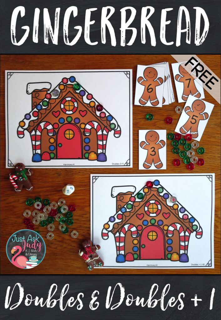 Here's a free seasonal activity for practicing the doubles and doubles plus 1 basic addition facts. It's the ideal holiday activity for your 1st and 2nd grade students. Try it as a partner or small group math station. #Gingerbread #FirstGradeMath #MathCenters