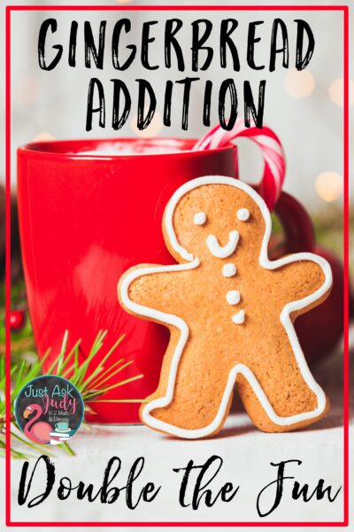 Check out this blog post with a free gingerbread activity for practicing the doubles and doubles plus 1 basic addition facts. It's the perfect holiday activity for your first and second grade students. Try it as a partner or small group math center. #Christmas #AdditionDoublesFacts