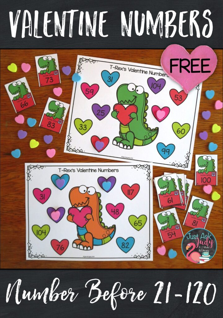 Have a little seasonal fun with this free Valentine's Day themed number activity, for kindergarten, first, and second-grade math. Use it to provide practice with determining the number right before and the number right after a given number 0-20 or 21-120. #Valentine'sDay #dinosaurs #MathCenters