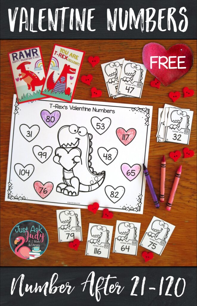Check out this free Valentine's Day themed number activity, perfect for your kindergarten, 1st, and 2nd grade math students. Give them practice determining the number right before and the number right after a given number 0-20 or 21-120. #Valentine'sDay #T-Rex #FirstGradeMath