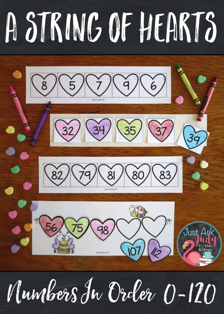 Have a little fun with this easy to prepare color, cut, and glue valentine themed math activity! Find a variety of ready to use number sequences appropriate for your kindergarten, 1st, and 2nd grade math students. #Hearts #OrderingNumbers #MorningWork