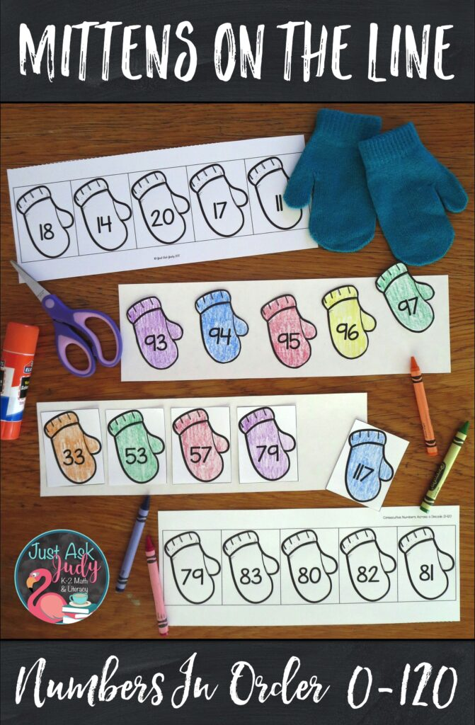 Have a little fun with this easy to prepare color, cut, and glue mitten themed math activity! Find a variety of ready to use number sequences appropriate for your kindergarten, first, and second-grade math students. #Winter #OrderingNumbers #MathStations