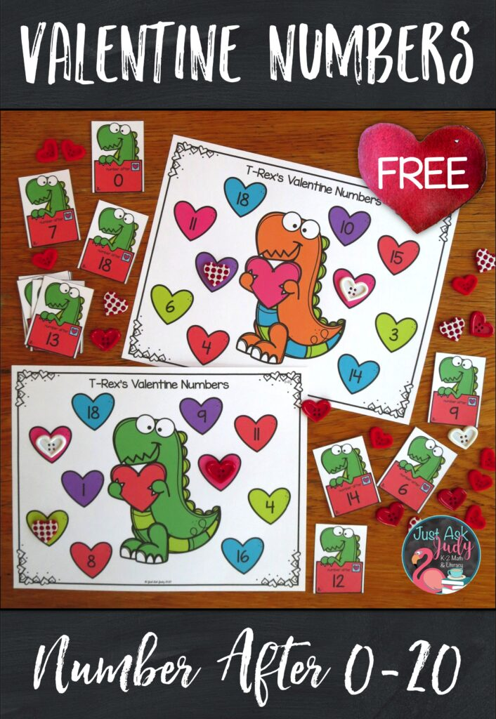 Click to download this free dinosaur themed number activity for your kindergarten, first, and second-grade math students. Use it to provide practice with determining the number right before and the number right after a given number 0-20 or 21-120. #Valentine'sDay #FirstGradeMath