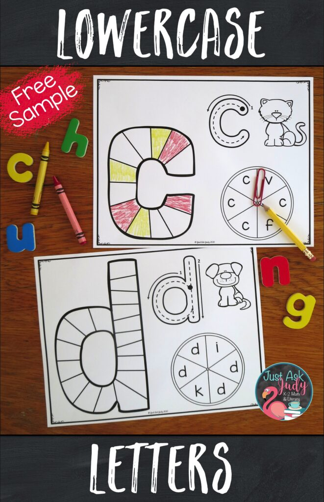 Click to download this free sample of my lowercase letter game boards. These partner games are designed to support your preschool, kindergarten, or struggling students as they learn to recognize letters. The focus is on providing repetitive practice with recognizing a single letter.