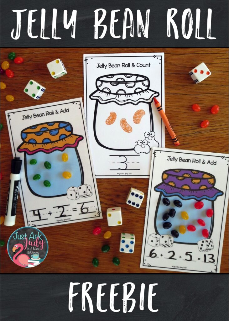 Click to download this free activity for counting or adding jelly beans. It's perfect for preschool, kindergarten, or first-grade math!